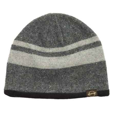 Weatherproof Stripe Beanie - Wool Blend, Fleece Lined (For Men and Women) in Charcoal/Grey - Closeouts
