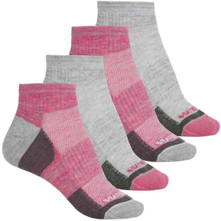 Weatherproof Terry Outdoor Socks - 4-Pack, Quarter Crew (For Women) in Pink - Closeouts