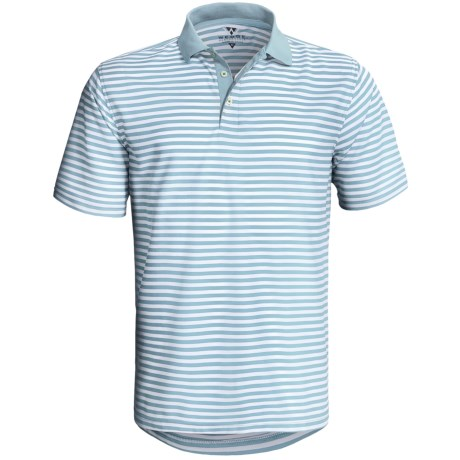 Wedge Athletic Tech Pique Polo Shirt - Short Sleeve (For Men) in Arctic Blue