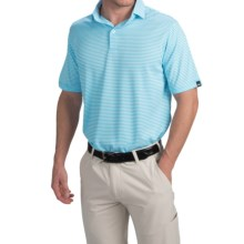 Wedge High-Performance Stripe Golf Polo Shirt - Short Sleeve (For Men) in Blue - Closeouts
