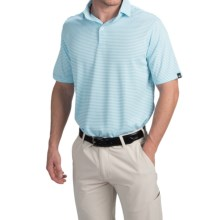 Wedge High-Performance Stripe Golf Polo Shirt - Short Sleeve (For Men) in Light Blue - Closeouts
