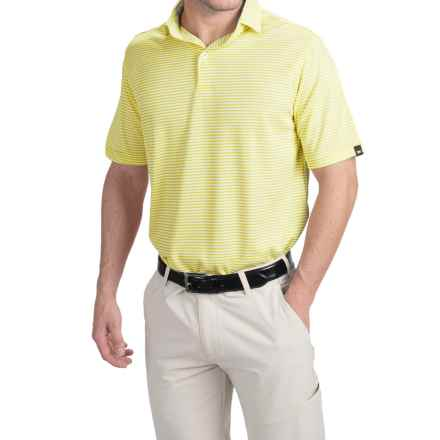 Wedge High-Performance Stripe Golf Polo Shirt - Short Sleeve (For Men) in Yellow - Closeouts