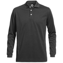 Wedge Mesh Golf Polo Shirt - Long Sleeve (For Men) in Black - Closeouts