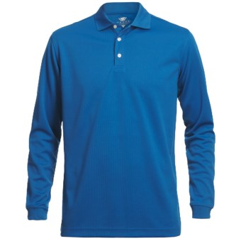 Wedge Mesh Golf Polo Shirt - Long Sleeve (For Men) in Cobalt