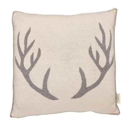 """Well Dressed Home Antlers Contrast Throw Pillow - 20x20"""" in Ivory/Grey - Closeouts"""
