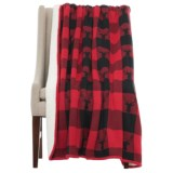 "Well-Dressed Home Deer Check Throw Blanket - Sherpa Fleece Lined, 50x60"""