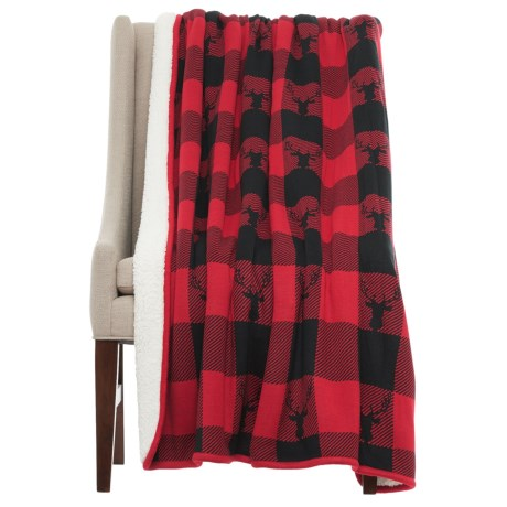 "Well-Dressed Home Deer Check Throw Blanket - Sherpa Fleece Lined, 50x60"" in Red/Black"