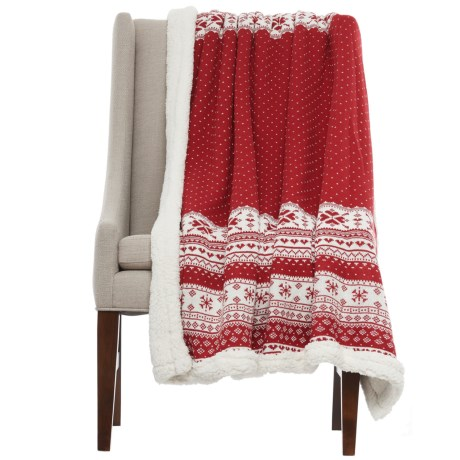 "Well-Dressed Home Nordic Throw Blanket - Sherpa Fleece Lined, 50x60"" in Red"
