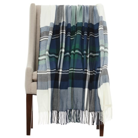 """Well-Dressed Home Plaid Throw Blanket - 50x60"""" in Blue/Green"""