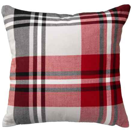 "Well Dressed Home Red Plaid Throw Pillow - 20x20"" in Red - Closeouts"