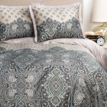 Welspun Crowning Touch Udaipur Duvet Set - King, 220 TC Cotton, 3-Piece in Silver - Closeouts