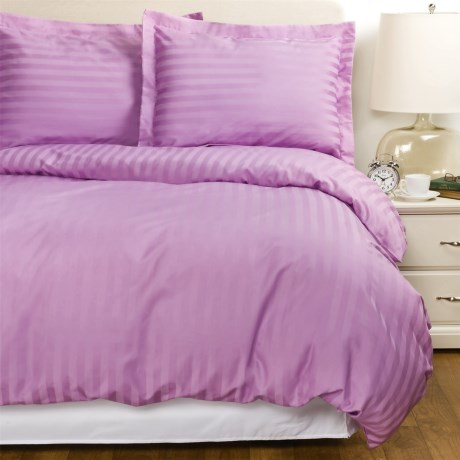 Welspun Damask Stripe Duvet Set Queen, 500 TC Cotton Sateen