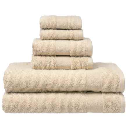 Welspun Zero Twist Kushlon Bath Towel Set - Turkish Cotton, 6-Piece in Cement - Closeouts