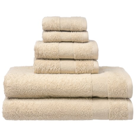 Welspun Zero Twist Kushlon Bath Towel Set - Turkish Cotton, 6-Piece in Cement