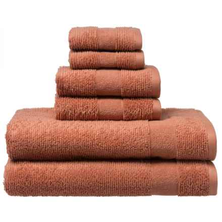 Welspun Zero Twist Kushlon Bath Towel Set - Turkish Cotton, 6-Piece in Cinnamon - Closeouts