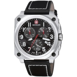 Wenger Aerograph Cockpit Chronograph Watch in Black/Stainless Steel/Black