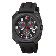 Wenger AeroGraph Cockpit Chronograph Watch - Rubber Band (For Men) in Black/Black - Closeouts