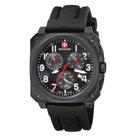 Wenger AeroGraph Cockpit Chronograph Watch - Rubber Band (For Men) in Black/Black