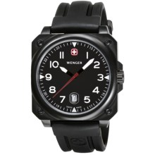 Wenger Aerograph Cockpit Watch with Rubber Band in Black/Black - Closeouts