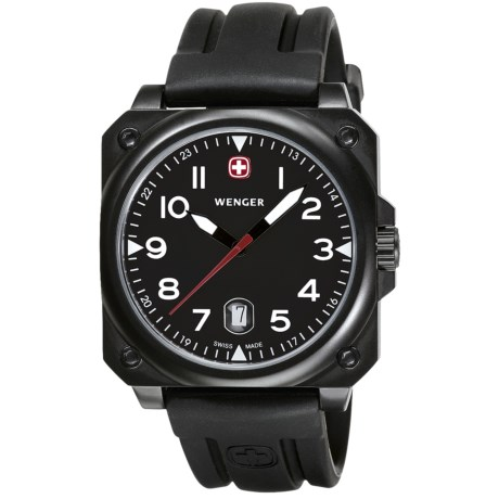 Wenger Aerograph Cockpit Watch with Rubber Band in Black/Black