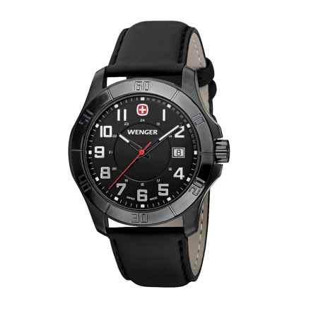 Wenger Alpine Analog Watch - 42mm, Leather Strap in Black/Black - Closeouts