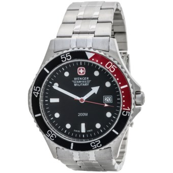 Wenger Alpine Diver Military Watch in Black/Stainless Steel
