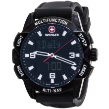 Wenger Altnav Compass Altimeter Watch - Chronograph (For Men) in Black/Black - Closeouts