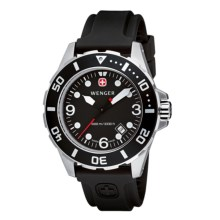 Wenger Aquagraph Divers Watch - Rubber Strap Band (For Men) in Black/Black - Closeouts