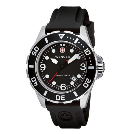 Wenger Aquagraph Divers Watch - Rubber Strap Band (For Men) in Black/Black