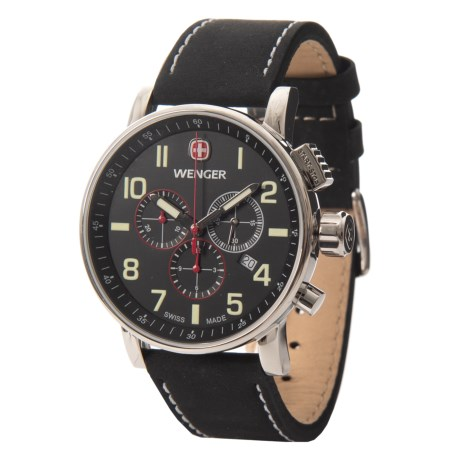 Wenger Attitude Luminous Dial Chronograph Watch - 43mm, Leather Strap in Black/Black
