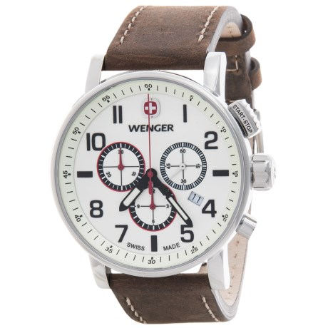 Wenger Attitude Luminous Dial Chronograph Watch - 43mm, Leather Strap in White/Brown