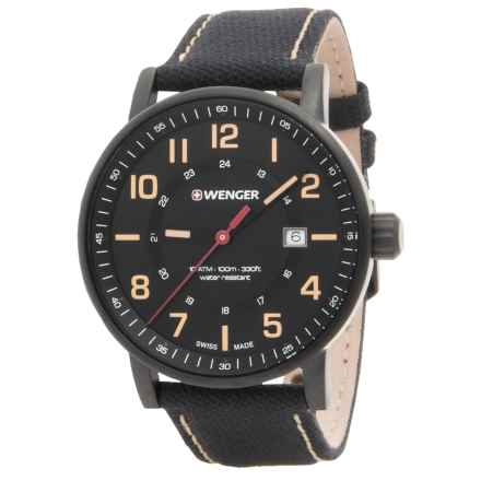 Wenger Attitude Oversized Dial Watch - 43mm, Nylon-Leather Strap in Black/Black - Closeouts