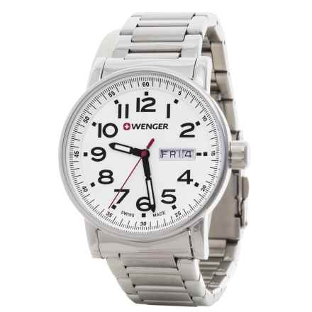 Wenger Attitude Swiss Quartz Watch - 41mm, Stainless Steel Bracelet in White/Silver - Closeouts