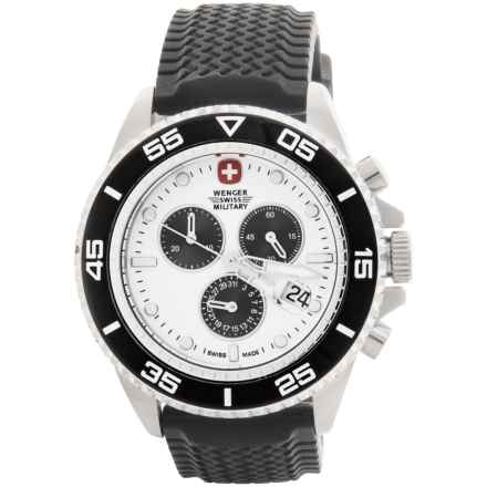Wenger Basel Chronograph 43mm Watch - Rubber Strap in White/Black - Closeouts