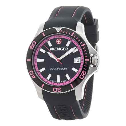 Wenger Black and Pink Dial Swiss Quartz Watch - 36mm, Silicone Strap (For Women) in Black/Black/Pink - Closeouts