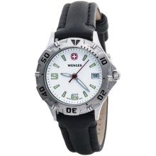 Wenger Brigade Small Dial Watch - Leather Strap (For Women) in White/Black - Closeouts