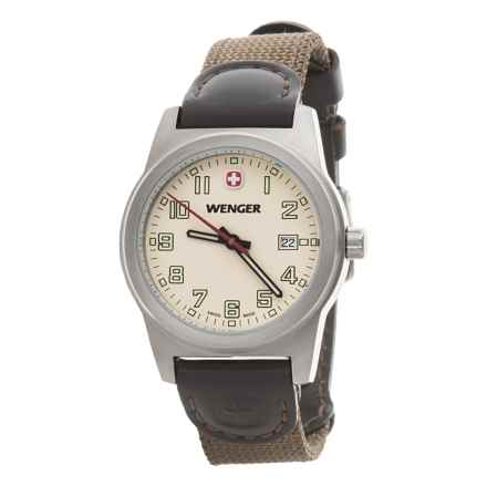Wenger City Active Swiss Quartz Watch - 32mm, Leather and Nylon Strap (For Women) in White/Olive - Closeouts