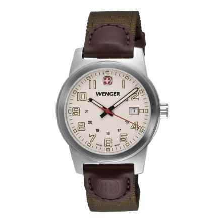 Wenger Classic Field Swiss Quartz Watch - Leather and Nylon Strap in Ivory/Brown - Closeouts