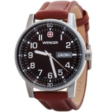 Wenger Commando Watch - Leather Strap (For Men) in Brown Sunray/Brown - Closeouts