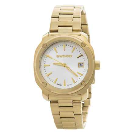 Wenger Edge Index Analog Watch - 41mm, Stainless Steel Bracelet (For Women) in Silver White/Yellow Gold - Closeouts