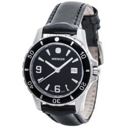 Wenger Elegance Sport Watch - Leather Band (For Women) in Black/Black