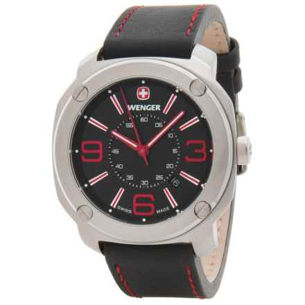 Wenger Escort Analog Swiss Quartz Watch - Leather Strap in Escort Lg Blk Dl Blk Lthr Strp - Closeouts