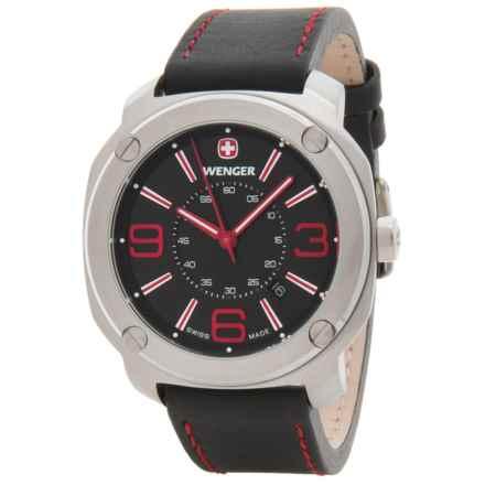 Wenger Escort Analog Swiss Quartz Watch - Leather Strap in Escort Lg Blk Dl Blk Lthr Strp - Closeouts