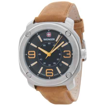 Wenger Escort Analog Swiss Quartz Watch - Suede Strap in Escort Lg Blk Dl Tan Suede Strp - Closeouts