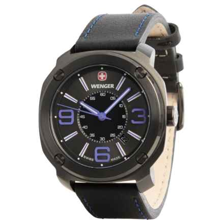 Wenger Escort Edge Analog Swiss Quartz Watch - Leather Strap in Black/Purple/Black - Closeouts