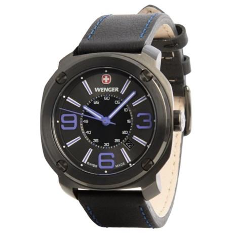 Wenger Escort Edge Analog Swiss Quartz Watch - Leather Strap in Black/Purple/Black