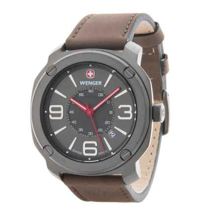 Wenger Escort Edge Analog Swiss Quartz Watch - Leather Strap in Grey/Brown - Closeouts