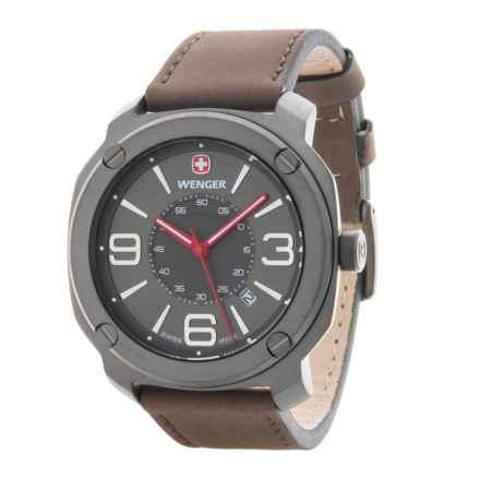 Wenger Escort Edge Analog Swiss Quartz Watch - Leather Strap in Grey/Brown - Closeouts