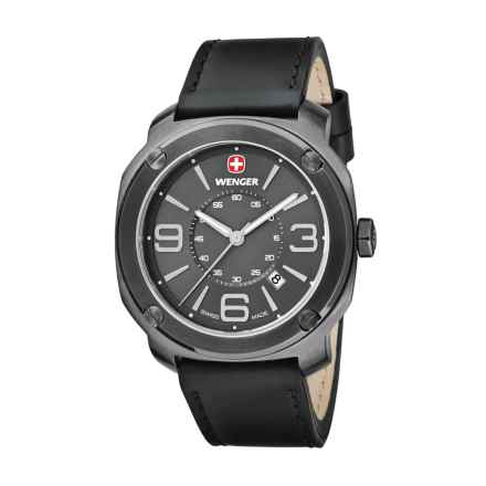 Wenger Escort Swiss Quartz Analog Watch - 43mm, Leather Strap in Gunmetal/Black - Closeouts
