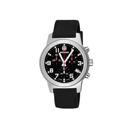 Wenger Field Chronographic Large Swiss Quartz Watch - Rubber Strap in Black/Black - Closeouts